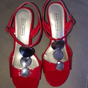 LAURA SCOTT RED and Silver Size 10 NEW